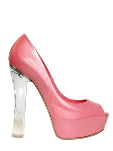 140mm Patent Glossy Open Toe Pumps