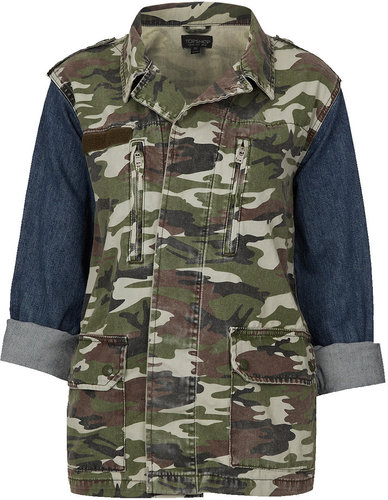 Camo and Denim Sleeve Jacket