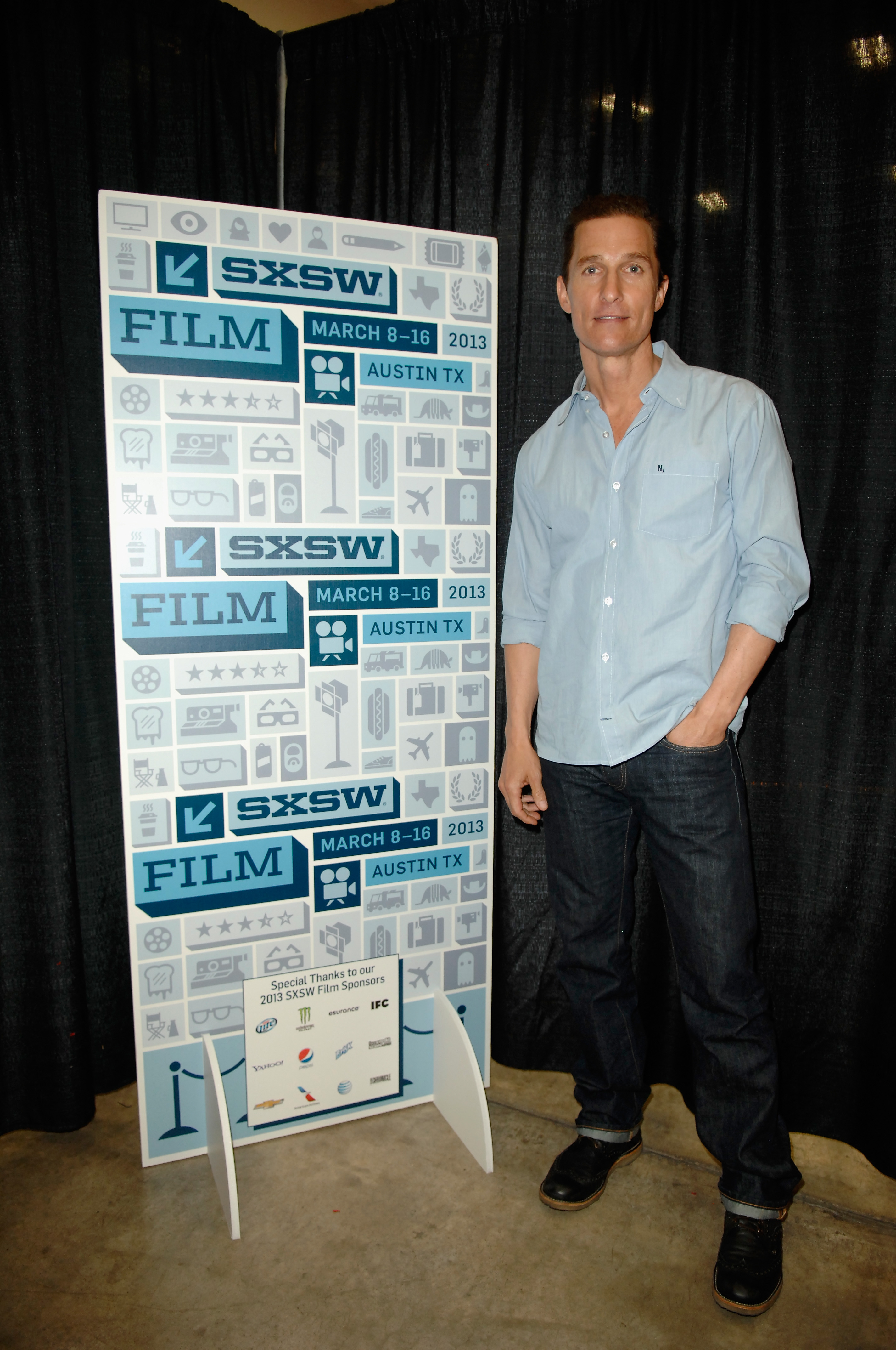 Matthew McConaughey posed in the greenroom at SXSW.