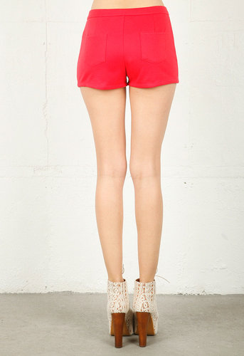 Shorts with Button Front in Coral - by Lucca Couture