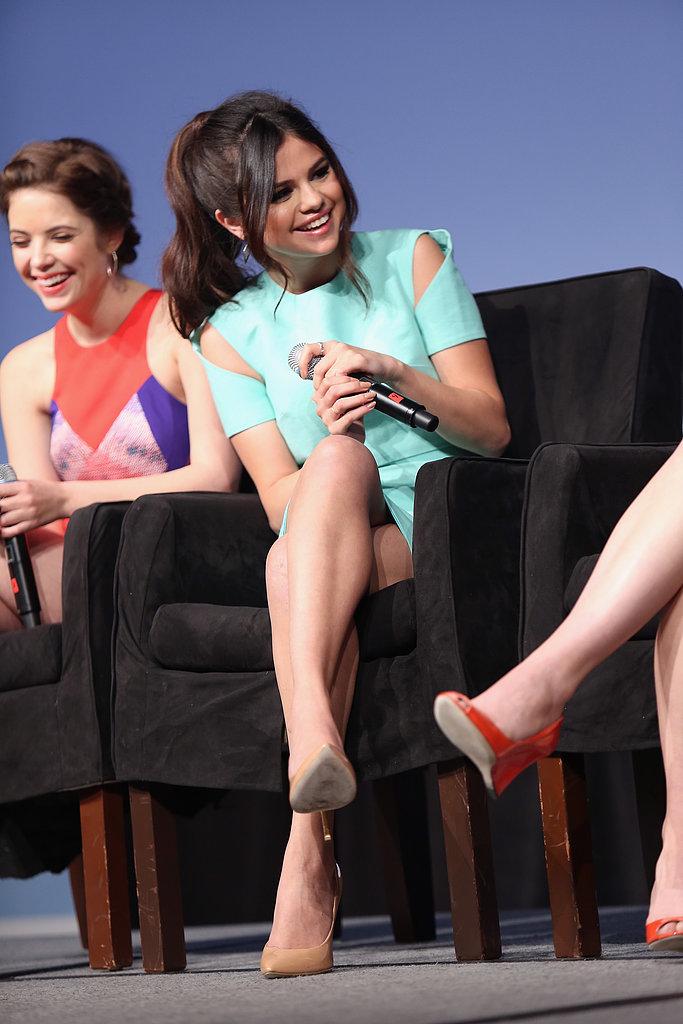 Selena Gomez giggled during her Spring Breakers press conference at SXSW.