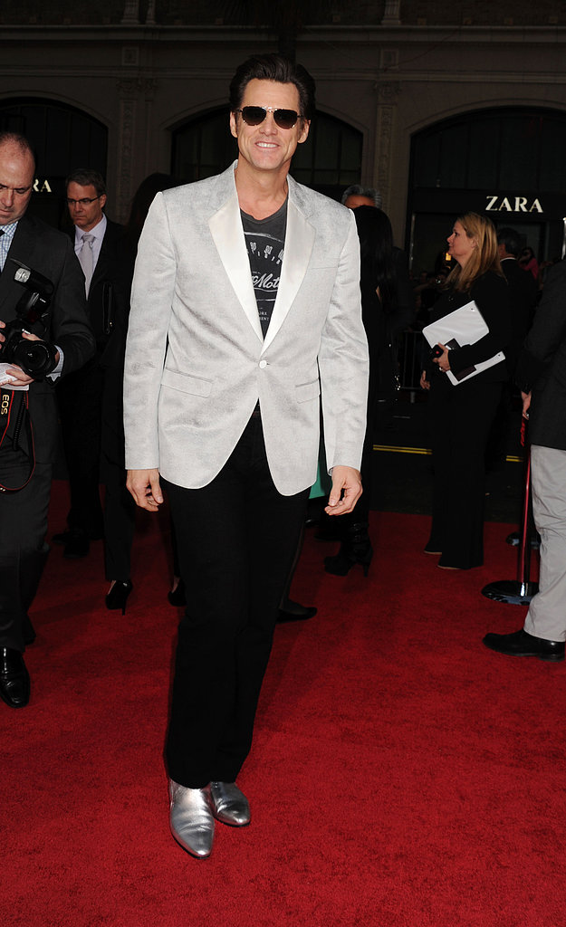 Jim Carrey wore silver shoes.