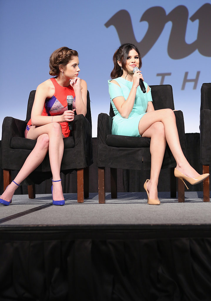 Selena Gomez and Ashley Benson answered questions at a Spring Breakers press conference.