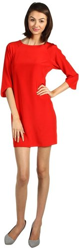 Tibi - Solid Silk Shift Dress (Red) - Apparel