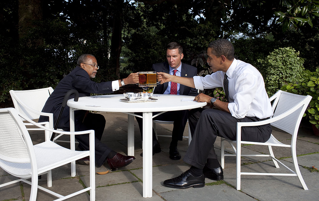 """Harvard University professor Henry Louis Gates, Cambridge Police Sgt. James Crowley, and President Barack Obama drank beer in the Rose Garden at the White House during the infamous 2009 """"beer summit."""""""