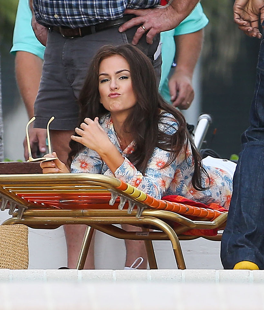 Isla Fisher mugged for the camera while filming a new project.