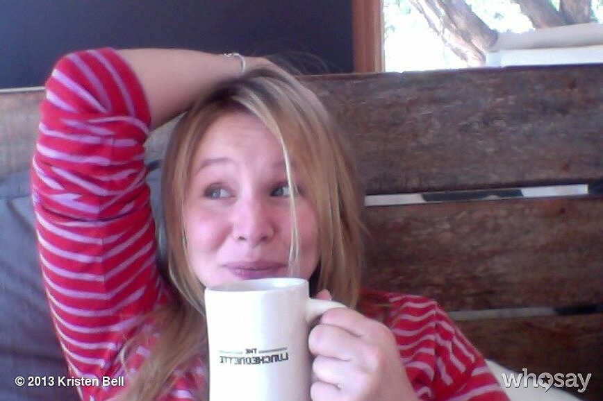 Kristen Bell enjoyed her morning cup of coffee with a smile. Source: Kristen Bell on WhoSay