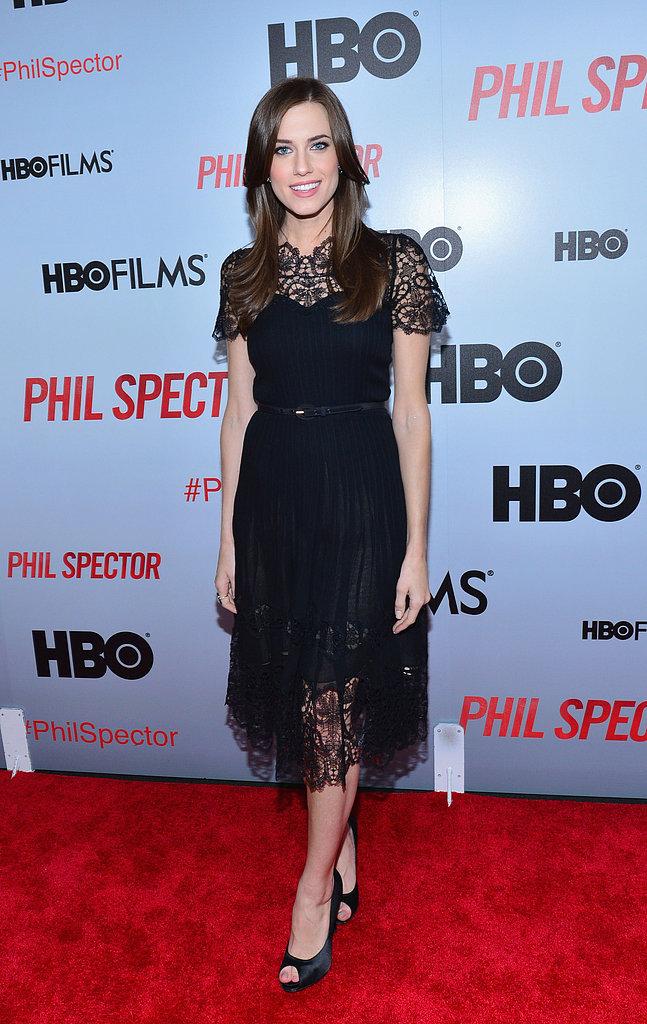 Allison Williams exuded dark glamour in a black lace Oscar de la Renta dress at the Phil Spector NYC premiere.