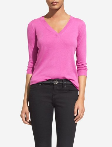 Pointelle Detail V-Neck Sweater