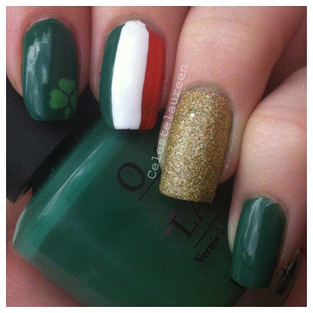 Feeling festive this weekend? Paint yourself an Irish-inspired manicure. Source: Instagram user celestelaureen