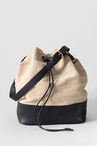 Women's Linen and Leather Bucket Bag