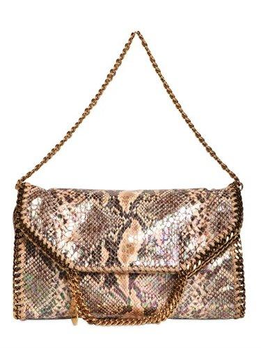 Three Chain Faux Python Falabella Bag
