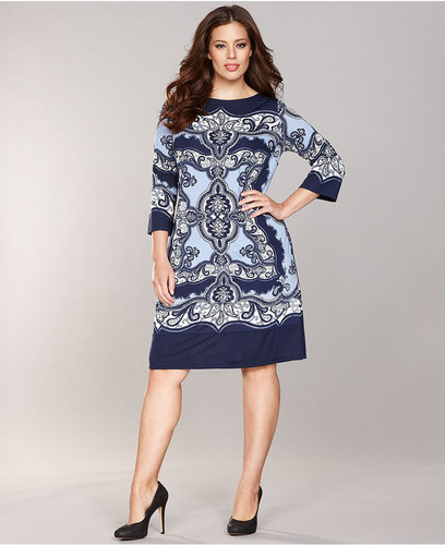 INC International Concepts Plus Size Dress, Three-Quarter-Sleeve Printed Shift
