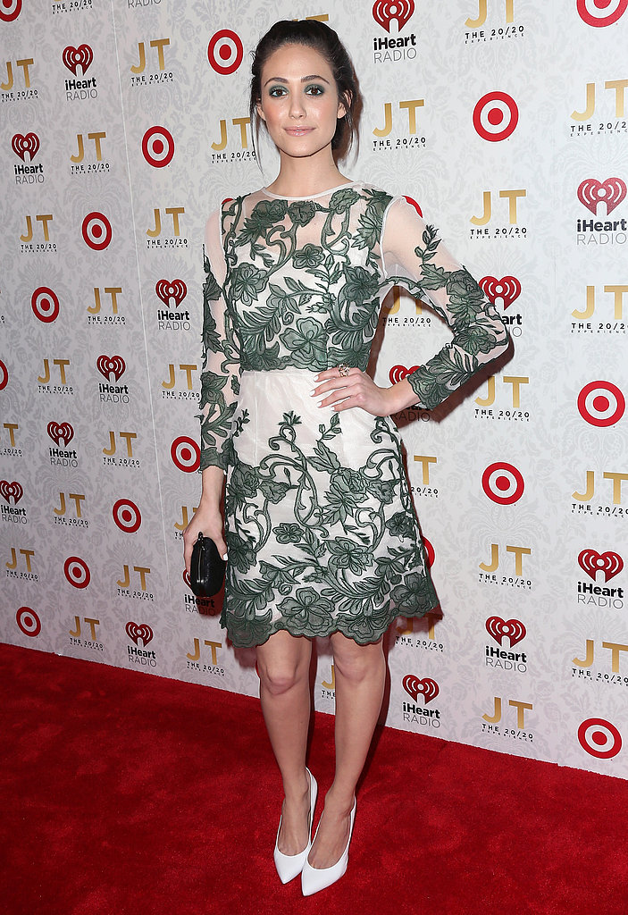 Emmy Rossum wore a green and white frock.