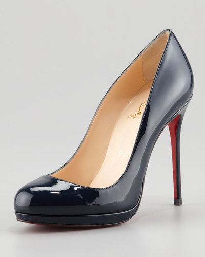 Christian Louboutin Filo Patent Platform Red Sole Pump, Navy