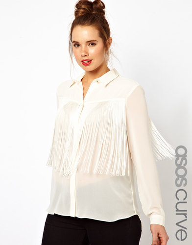 ASOS CURVE Blouse With Fringing