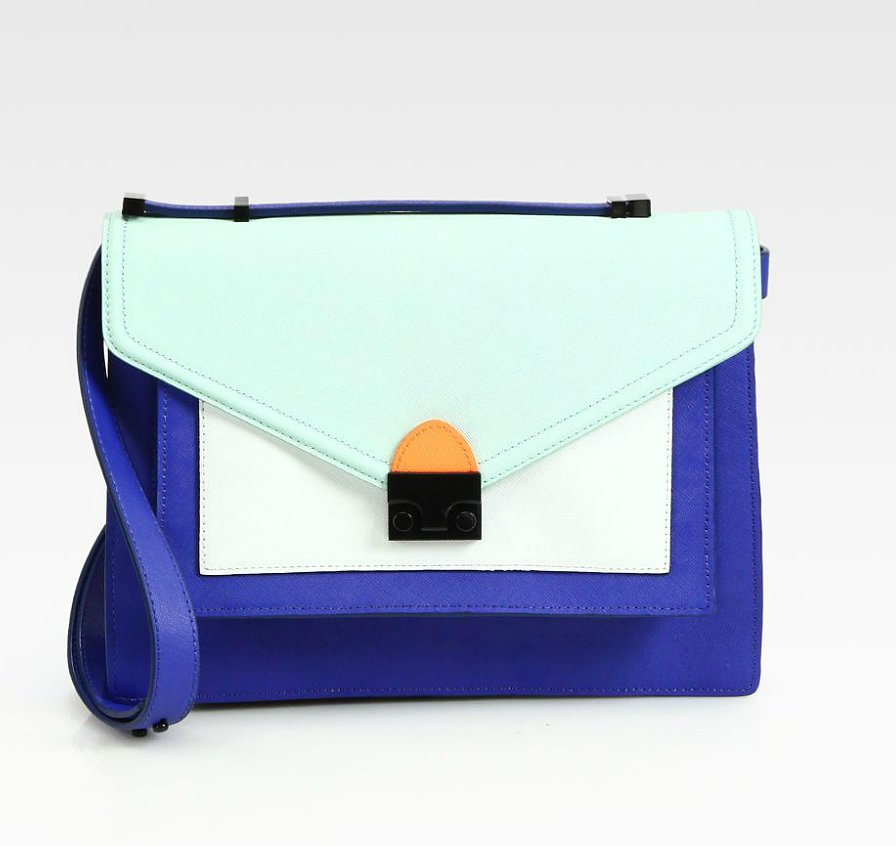 This season, look to a structured everyday bag that packs more of a fashion punch with a creative color scheme. We can't get enough of Loeffler Randall's colobrlocked iteration of the Rider bag ($495).