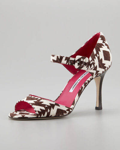 Manolo Blahnik Caldo Printed Mary Jane Pump