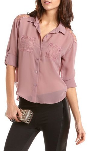 Lace Inset Hi-Low Chiffon Blouse