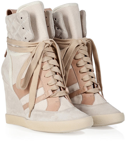 Chloé Cream/Blush Leather/Canvas Wedge Sneakers