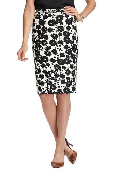 Prints are taking over all of our staples this Spring, but for a subtler approach you can wear even at the office, this LOFT blossom-print stretch cotton pencil skirt ($70) has a chic black and white palette that makes it easy to wear.