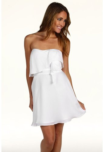 BCBGeneration - Flounce Bodice Strapless Dress (White) - Apparel