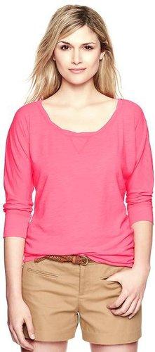 Dolman-sleeve slub pullover
