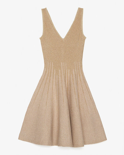 Gig Exclusive Lurex Tank Flare Knit Dress: Gold