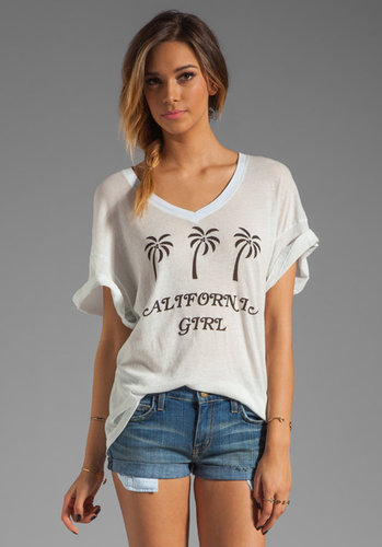 Wildfox Couture Pink Palms Oversize V Neck Tee