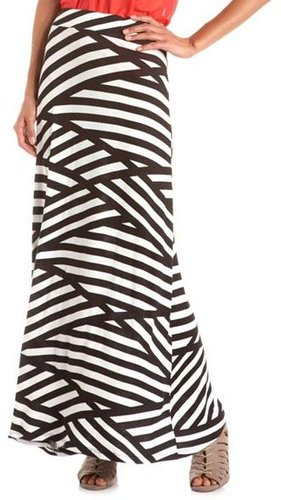 Asymmetrical Stripe Maxi Skirt