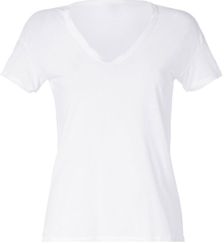 James Perse White Short Sleeve V-Neck Cotton T-Shirt