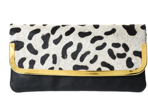 ASOS Leather Purse With Faux Animal Print