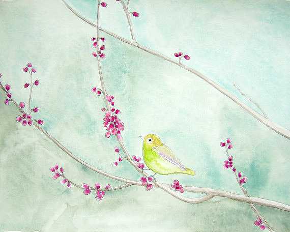 For an elegant look, try this beautiful Spring song print ($20).