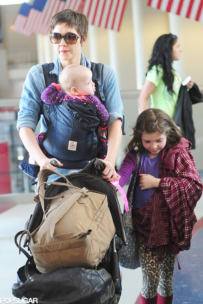 Maggie Gyllenhaal arrived in LA with her daughters, Ramona and Gloria, on Friday.