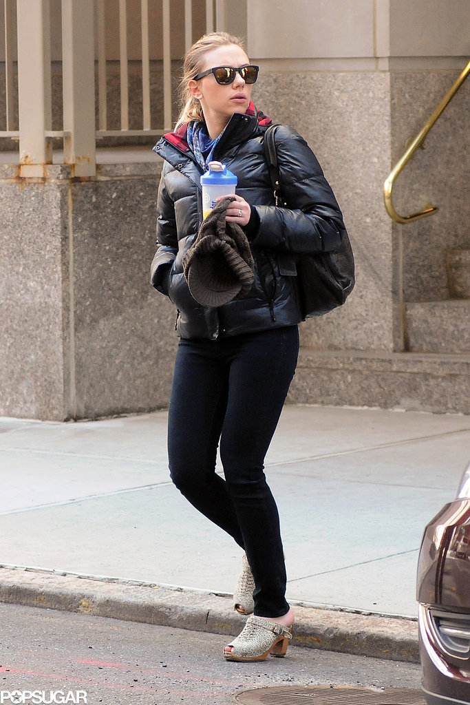 Scarlett Johansson stepped out of her NYC hotel with orange juice.