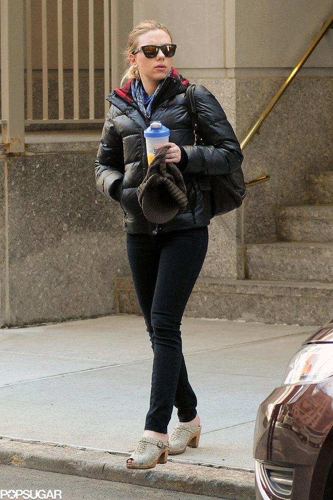Scarlett Johansson wore a warm jacket and shades.