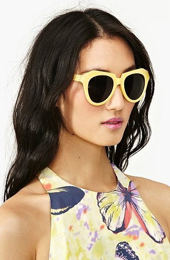 Yellow sunglasses are not for the timid. If you want to get noticed, then we recommend you do so with these funky yellow sunglasses from Nasty Gal ($18).