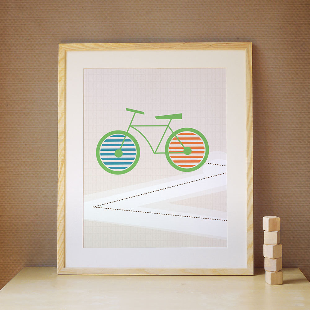 Add this colorful, contemporary bicycle print ($39) to the gallery wall in your child's bedroom.