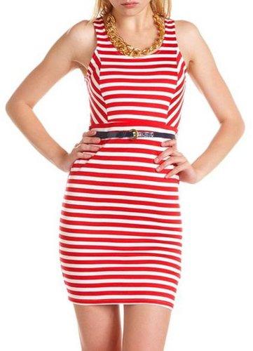 Belted Stripe Body-Con Dress