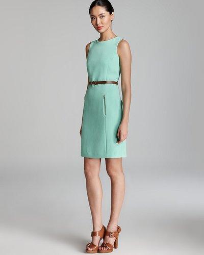 Anne Klein Dress Anne Klein Shift Dress - Sleeveless Belted