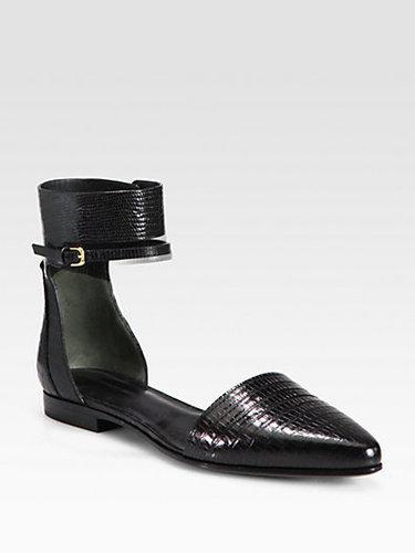 Alexander Wang Elsa Reptile-Print Leather Ankle Strap Flats