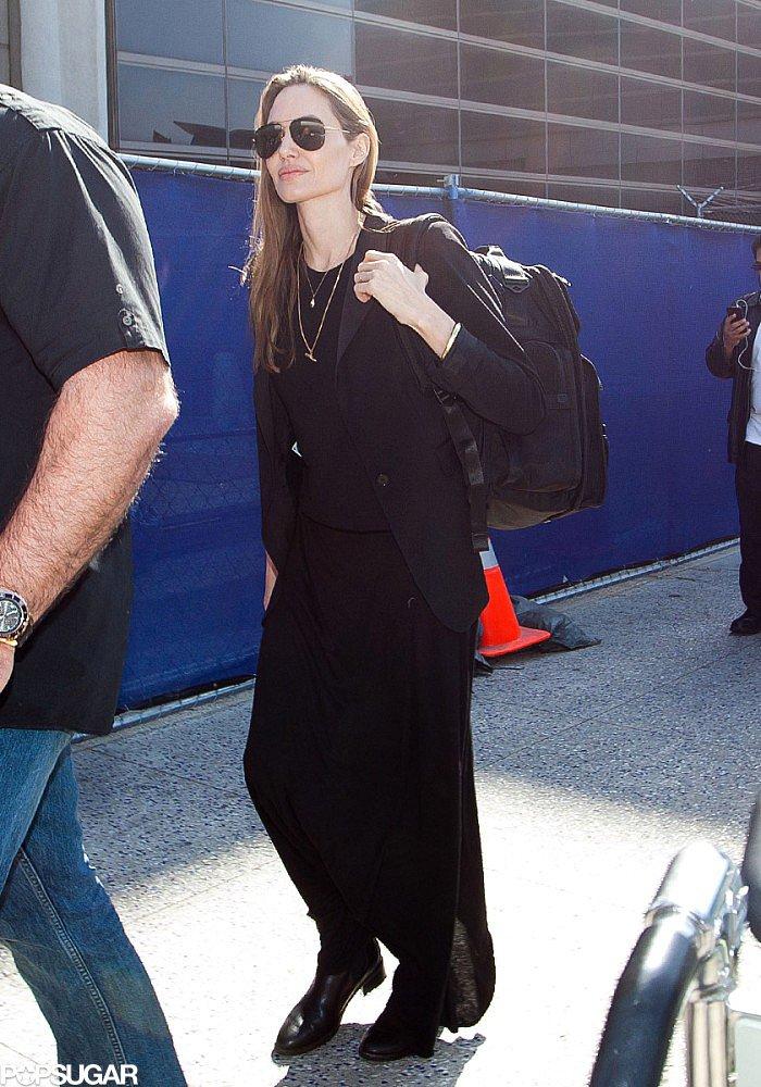 Angelina Denies Wedding Ring Rumors Upon Returning to LA