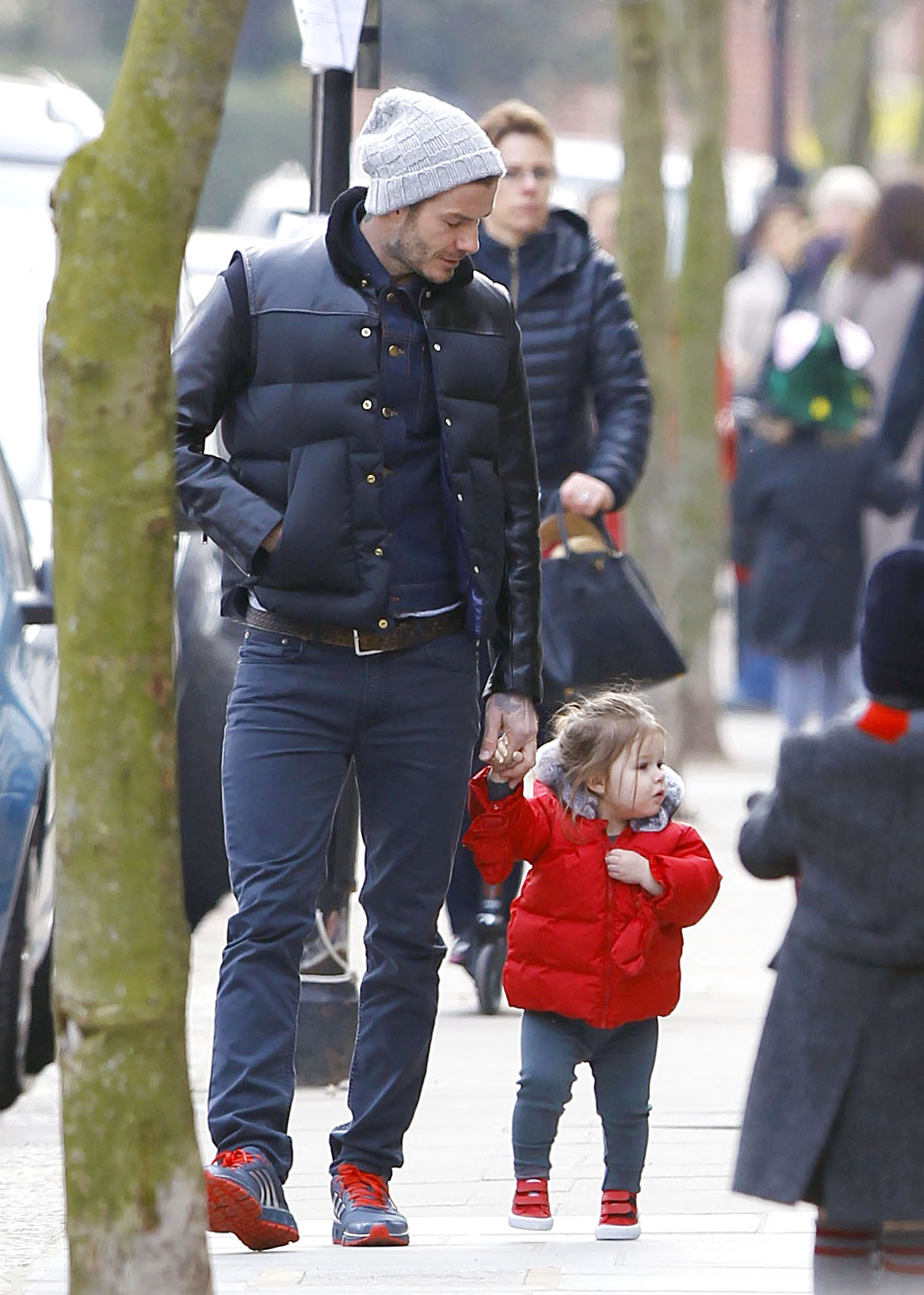 David Beckham Coordinates With Harper on a Cold London Outing