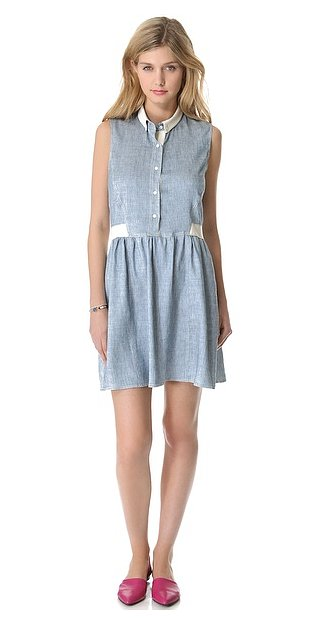 This Sea denim sleeveless dress ($391) has fresh white contrast details we can't get enough of.