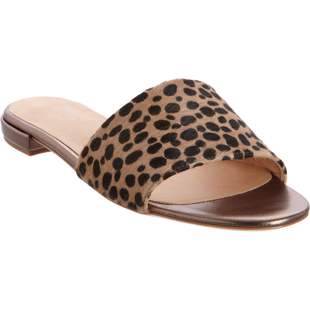 These Barneys New York Co-Op leopard slip-on sandals ($285) speak to my minimalist side, but the leopard print lends just enough flair. I envision throwing them on with everything from dresses to jeans.  — Melody Nazarian