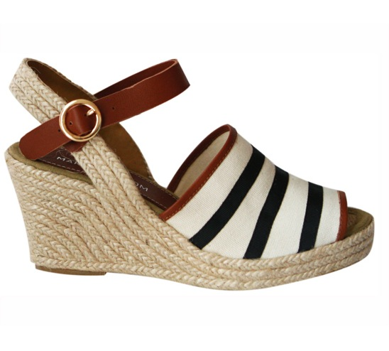 "This Marais USA sailor wedge ($175) has ""sunny days ahead"" written all over it. Plus, the espadrille sole and preppy stripe detail supply the perfect offset to my classic cropped jeans and white tee looks. — Marisa Tom"