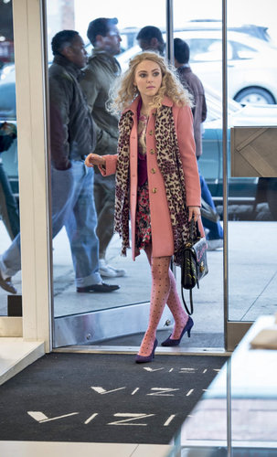 Carrie topped her mixed-print pairing — floral separates, polka-dot Kate Spade tights, and leopard scarf — with a pastel J.Crew trench. Layer this punchy Betsey Johnson coat ($128) over a floral skirt and blouse to nail Carrie's blossoming look. Source: The CW