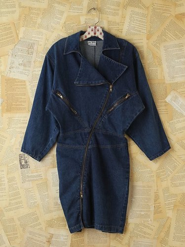 Vintage Denim Moto Zip Dress