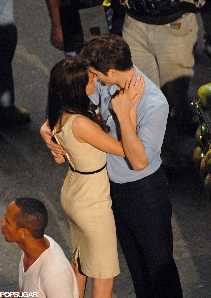 Kristen Stewart and Robert Pattinson kissed on the set of Breaking Dawn Part 1 in Brazil in November 2010.