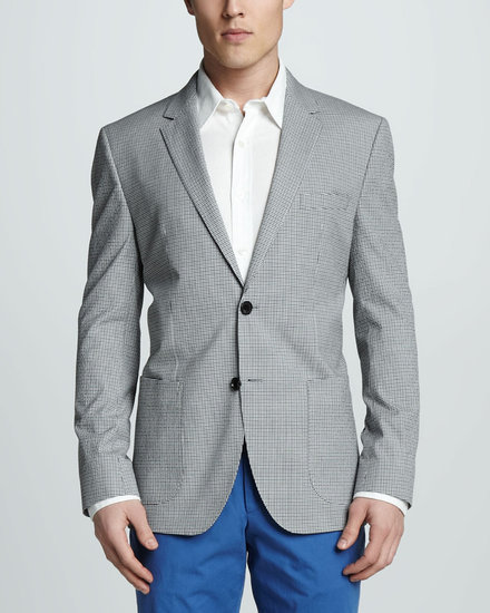 Hugo Boss Check Cotton Blazer, Blue